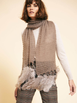 Lynx Bead and Feather Scarf